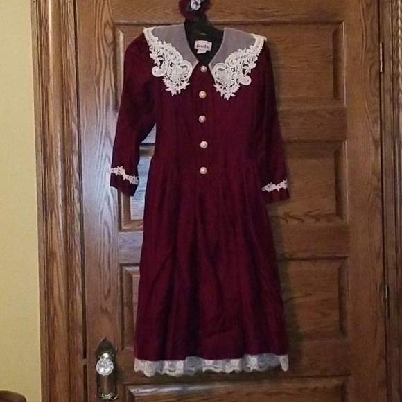 christmas Victorian Holiday velour dress girls 6